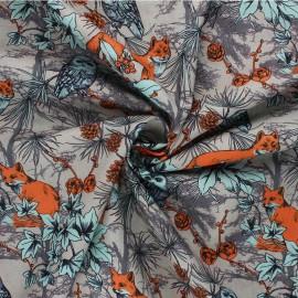 Poppy poplin cotton Fabric - grey Forest by Night x 10cm