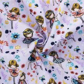 Poppy poplin cotton Fabric - lilac Magical Garden x 10cm
