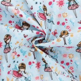 Poppy poplin cotton Fabric - blue Magical Garden x 10cm