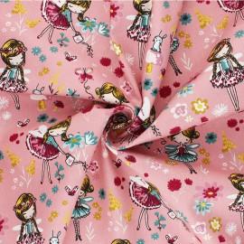 Tissu coton Popeline Poppy Magical Garden - rose x 10cm