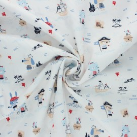 Poppy poplin cotton Fabric - white Pirates x 10cm