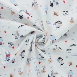 Tissu coton Popeline Poppy Pirates - blanc x 10cm