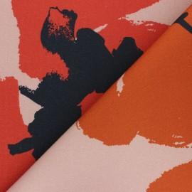 Cotton canvas fabric Thevenon - pink Coquelicot x 50cm