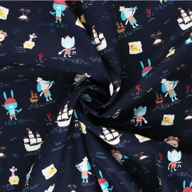 Poppy poplin cotton Fabric - navy blue Pirates x 10cm
