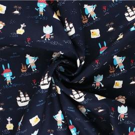 Tissu coton Popeline Poppy Pirates - bleu marine x 10cm