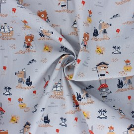 Poppy poplin cotton Fabric - grey Pirates x 10cm