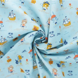 Poppy poplin cotton Fabric - blue Pirates x 10cm