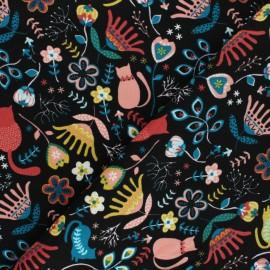 Tissu velours milleraies Poppy Flolkloric - noir x 10cm
