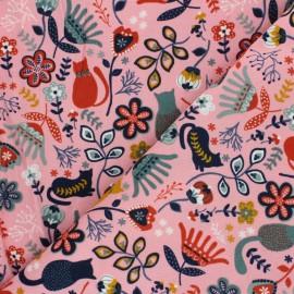 Tissu velours milleraies Poppy Flolkloric - rose x 10cm
