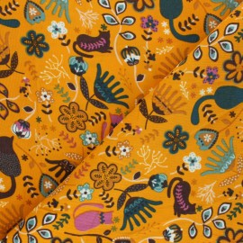 Tissu velours milleraies Poppy Flolkloric - jaune moutarde x 10cm