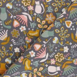 Tissu velours milleraies Poppy Flolkloric - taupe x 10cm