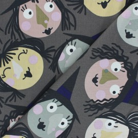 Alexander Henry cotton fabric - grey Which witch is which? x 10 cm