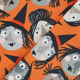 Alexander Henry cotton fabric - orange Which witch is which? x 10 cm