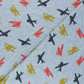 Poppy Jersey fabric - mottled grey Airplane x 10cm