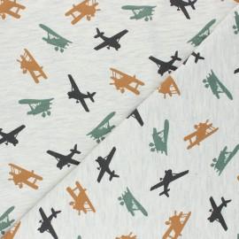 Tissu jersey Poppy Airplane - écru chiné x 10cm