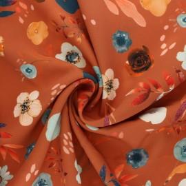 Tissu polyester élasthanne Fall Season - roux x 10cm