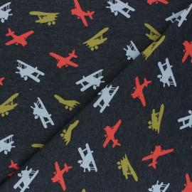 Poppy Jersey fabric - mottled dark grey Airplane x 10cm