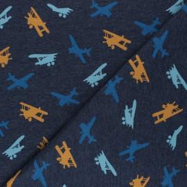 Tissu jersey Poppy Airplane - bleu foncé chiné x 10cm