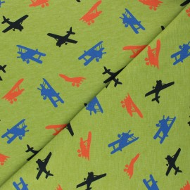 Poppy Jersey fabric - mottled pistachio green Airplane x 10cm
