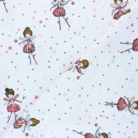 Tissu jersey Poppy Dancing Ballerina - blanc x 10cm
