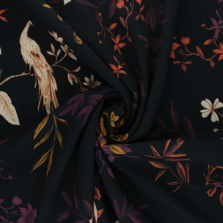 Tissu polyester élasthanne Daphnée - noir x 10cm