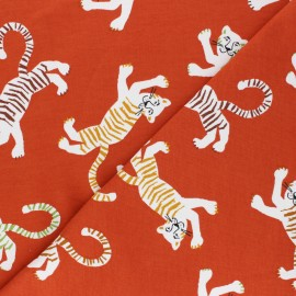 Tissu sweat léger Poppy Friendly Tiger - rouille x 10cm