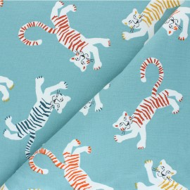 Tissu sweat léger Poppy Friendly Tiger - bleu x 10cm