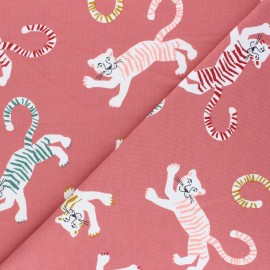 Poppy French Terry fabric - pink Friendly Tiger x 10cm