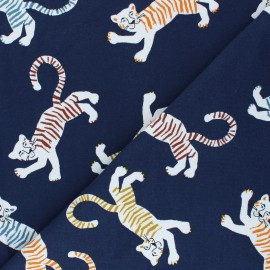 Poppy French Terry fabric - navy blue Friendly Tiger x 10cm