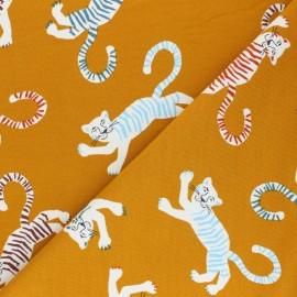 Tissu sweat léger Poppy Friendly Tiger - jaune moutarde x 10cm