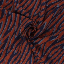 Patterned Viscose Fabric - rust red Yana x 10cm