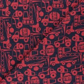 Poppy French Terry fabric - dark grey/red Construction Vehicals x 10cm
