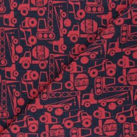 Tissu sweat léger Poppy Construction Vehicals - gris foncé/rouge x 10cm