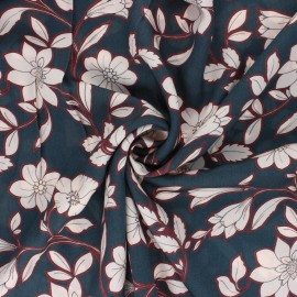 Patterned Viscose Fabric - blue Capucine x 10cm