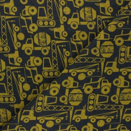 Poppy French Terry fabric - dark grey/yellow Construction Vehicals x 10cm