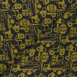 Tissu sweat léger Poppy Construction Vehicals - gris foncé/jaune x 10cm