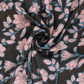 Patterned Viscose Fabric - brown Capucine x 10cm