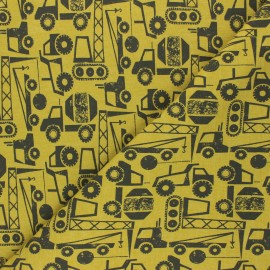 Tissu sweat léger Poppy Construction Vehicals - jaune/noir x 10cm