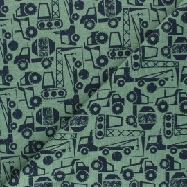 Poppy French Terry fabric - green/black Construction Vehicals x 10cm