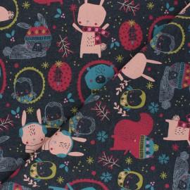 Tissu sweat léger Poppy Cute Animals - gris foncé chiné x 10cm