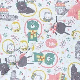 Poppy French Terry fabric - mottled raw Cute Animals x 10cm