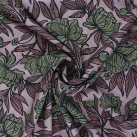 Patterned Viscose Fabric - old pink Peony Blossom x 10cm