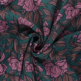 Patterned Viscose Fabric - peacock green Peony Blossom x 10cm