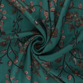 Patterned Viscose Fabric - emerald green Autumn-Blooming x 10cm