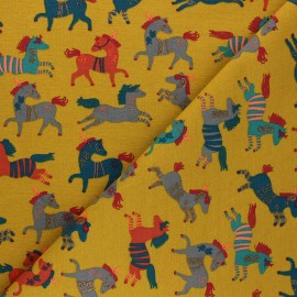 Poppy French Terry fabric - mustard yellow Happy Horses x 10cm