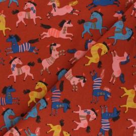 Tissu sweat léger Poppy Happy Horses - rouille x 10cm