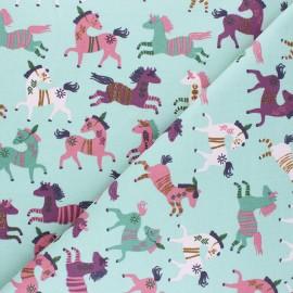 Tissu sweat léger Poppy Happy Horses - vert d'eau x 10cm