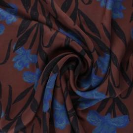 Tissu viscose Satine - marron x 10cm