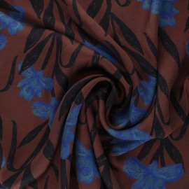Patterned Viscose Fabric - brown Satine x 10cm