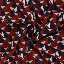 Patterned viscose fabric - rust red Ezra x 10cm